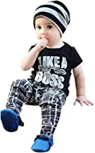 TIFENNY Boys Letters Like a Boss Printed Casual T-Shirt+Trousers Set(3M-5T)