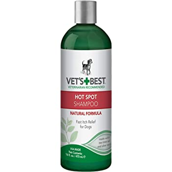 Vet's Best Hot Spot Itch Relief Shampoo for Dogs | Relieves Dog Dry Skin, Rash, Scratching, Licking, Itchy Skin, and Hot Spots | 16 Ounces