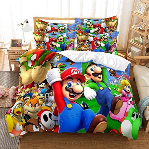Super Mario Kids Bedding Soft Comforter, Mario Bedding Duvet Cover and Pillow Shams Double Set Without Filler (2pcs (53'' x 79''))
