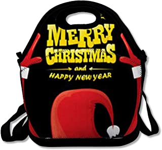 Insulated Lunch Bag for Adult Men Women Rockstar Red Merry Santa Claus Hand Rock Happy Christmas Holidays Music Button Year Concert Reuable Lunch Tote Box for Work