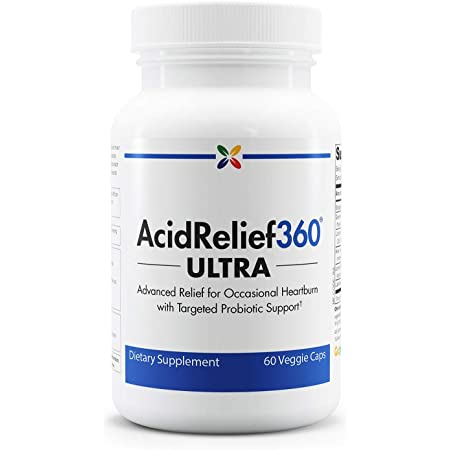 Stop Aging Now - AcidRelief360 Ultra with Probiotics - Occasional Heartburn and Bloating Relief - Digestive Probiotic with Aloe Vera, Slippery Elm, Chamomile and Lemon Balm - 60 Caps