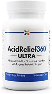 Advanced Occasional Heartburn Relief with Targeted Probiotic Support - AcidRelief360 Ultra with GutGard and Probiotics - Stop Aging Now - 60 Veggie Caps