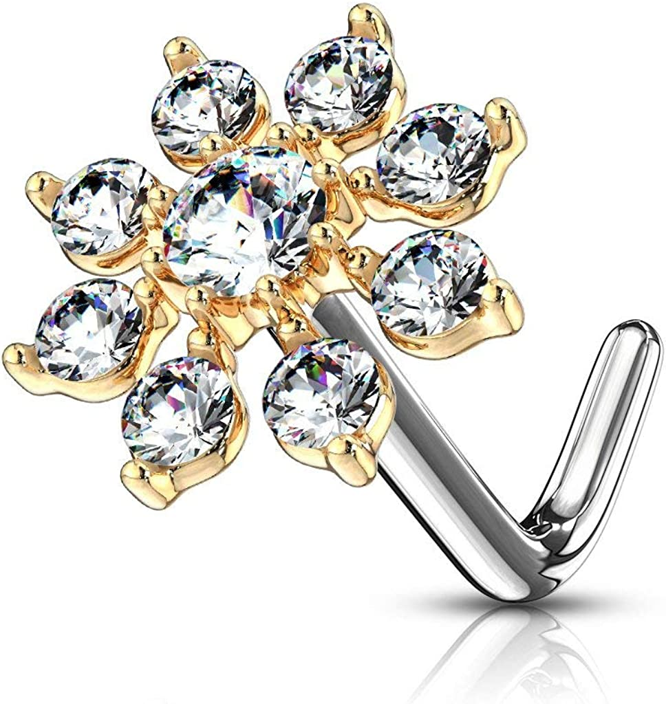 Forbidden Body Jewelry Nose Rings Big Bling CZ Snowflake L-Shaped Nose Stud Surgical Steel (20g,7mm)