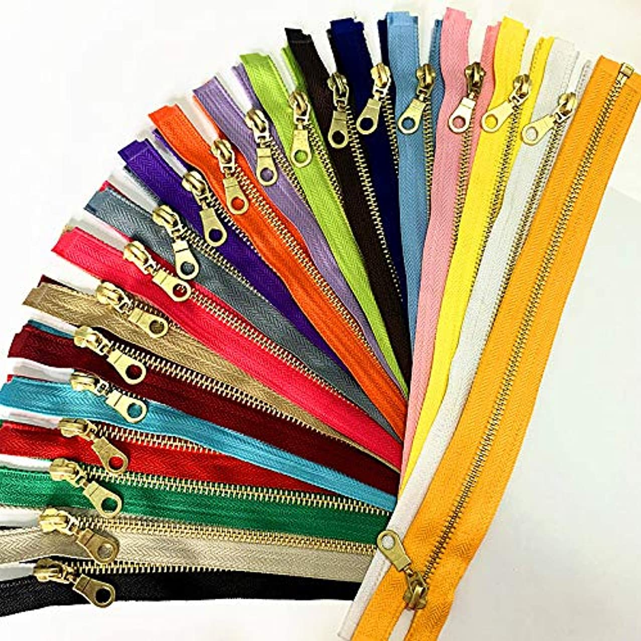 WKXFJJWZC Set of 20 Pieces 5# Brass Metal Separate Zippers in with Donut Zippers Pulls 12 Inch(20Color) (12inch)