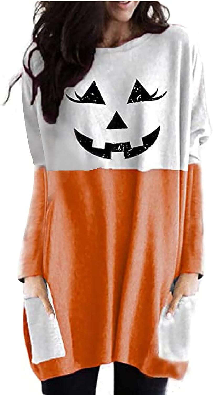 Womens Long Sleeve Crewneck Shirts Halloween Bats Printed Cat Graphic Tops Fashion with Pocket Tees