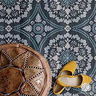 Mandala Tile Wall Stencil - Large Circle Design for Painting Floor Stencils - Wall Stencils - Mural Stencils - Boho Wallpaper Pattern