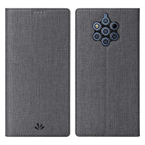 Eactcoo Ersatz für Nokia 9 Pureview Hülle,Premium PU Leder klappbares Folio Flip Hülle TPU Cover Bumper Tasche Mit Standfunktion Magnetverschluss Kartenfach Wallet Handyhülle(Nokia 9 Pureview, Gray)