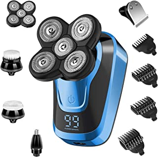 Electric Shaver Razor for Men 5 in 1, Bald Head Razor Waterproof Rechargeable Hair Clippers Wet Dry Hair Trimmers Multifun...