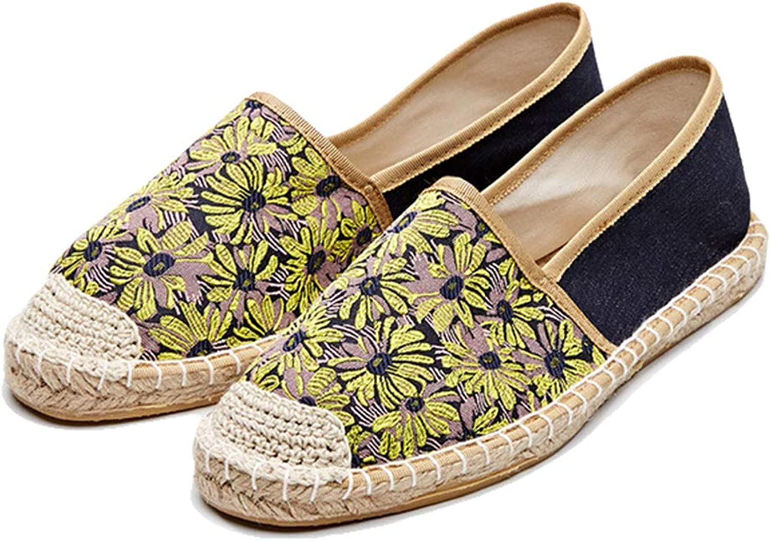 York Zhu Women Flats,Casual Espadrilles Canvas Jacquard Weave Fishermen Loafers shoes
