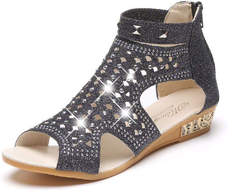 MEIZOKEN Womens Hollow Wedge Sandals Fashion Fish Mouth Elegant Roma shoes Low Heel Glitter Crystal Dress Sandal