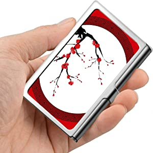 Oriental Style Painting Plum Blossom Cherry Waterproof Business Card Case Custom Business Card Holder Professional Metal 3.81x 2.7 X 0.29 Inches Business Card Holder for Women