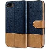 BEZ Hülle für iPhone 8 Plus Hülle, Handyhülle Kompatibel für iPhone 7 Plus, iPhone 8 Plus, Handytasche Schutzhülle Tasche [Stoff & PU Leder] mit Kreditkartenhaltern, Blaue Marine