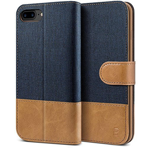 BEZ Hülle für iPhone 8 Plus Hülle, Handyhülle Kompatibel für iPhone 7 Plus, iPhone 8 Plus, Handytasche Schutzhülle Tasche [Stoff und PU Leder] mit Kreditkartenhaltern, Blaue Marine