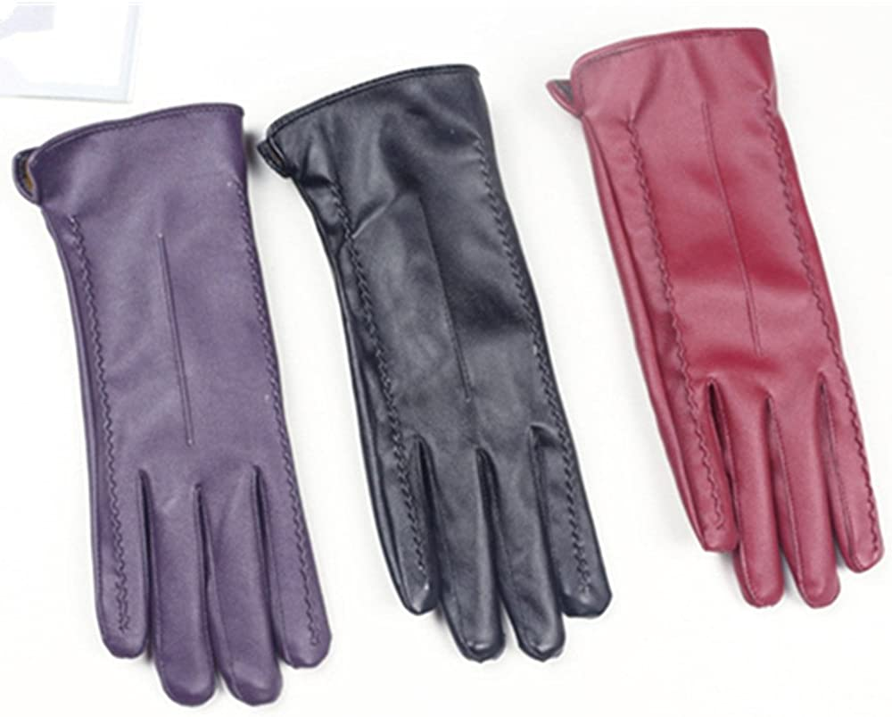 Womens Touchscreen Texting Driving Winter Warm Red PU Leather Gloves By Long Keeper