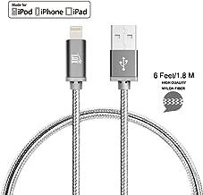LAX Gadgets Apple MFi Lightning Cable, Gray, 6 Feet