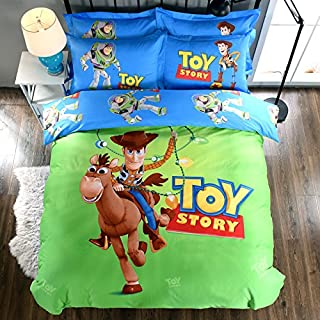 Casa 100% Cotton Kids Bedding Set Boys Toy Story Duvet Cover and Pillow case and Fitted Sheet,3 Pieces,Twin,Woody and Buzz Lightyear