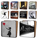 BANKSY Print Coasters Pack of 10 - NEW Art Coasters Furniture, Dinnerware Sets 11cm x 11cm