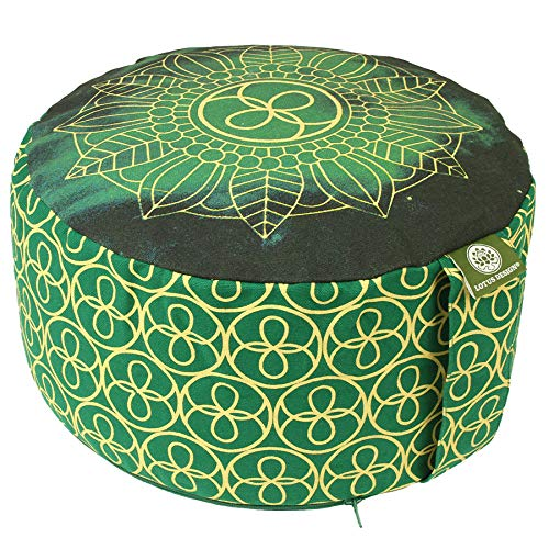 Lotus Design Meditationskissen/Yogakissen rund, Chakra Muster, 15 cm hoch, Bezug 100% Baumwolle waschbar, Yoga-Sitzkissen mit Buchweizenschalen auch für Anfänger, Yoga Kissen sozial und fair