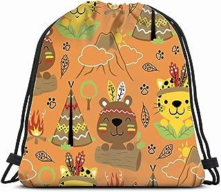 pattern animals indian tribes wildlife adorable nature Lightweight Drawstring Bag Sport Gym Sack Bag Backpack 17X14 Inch