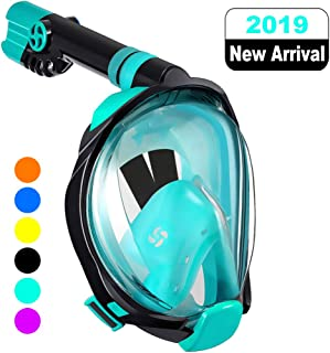 WSTOO Full Face Snorkel Mask,Advanced Safety Breathing System Allows You to Breathe More Fresh Air While Snorkeling,180 Panoramic Anti Fog Anti Leak Foldable Snorkel Mask for Adult and Kids