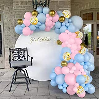 Pink and Blue Balloons, 76pcs Gold Metallic Foil Balloons Garland Kit Latex Balloon for Birthday Baby Shower Gender Reveal...