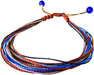 e81d1058472 Surfing string Friendship bracelet medium 6.5-8.5 inches brown yellow  macrame with sea glass beads