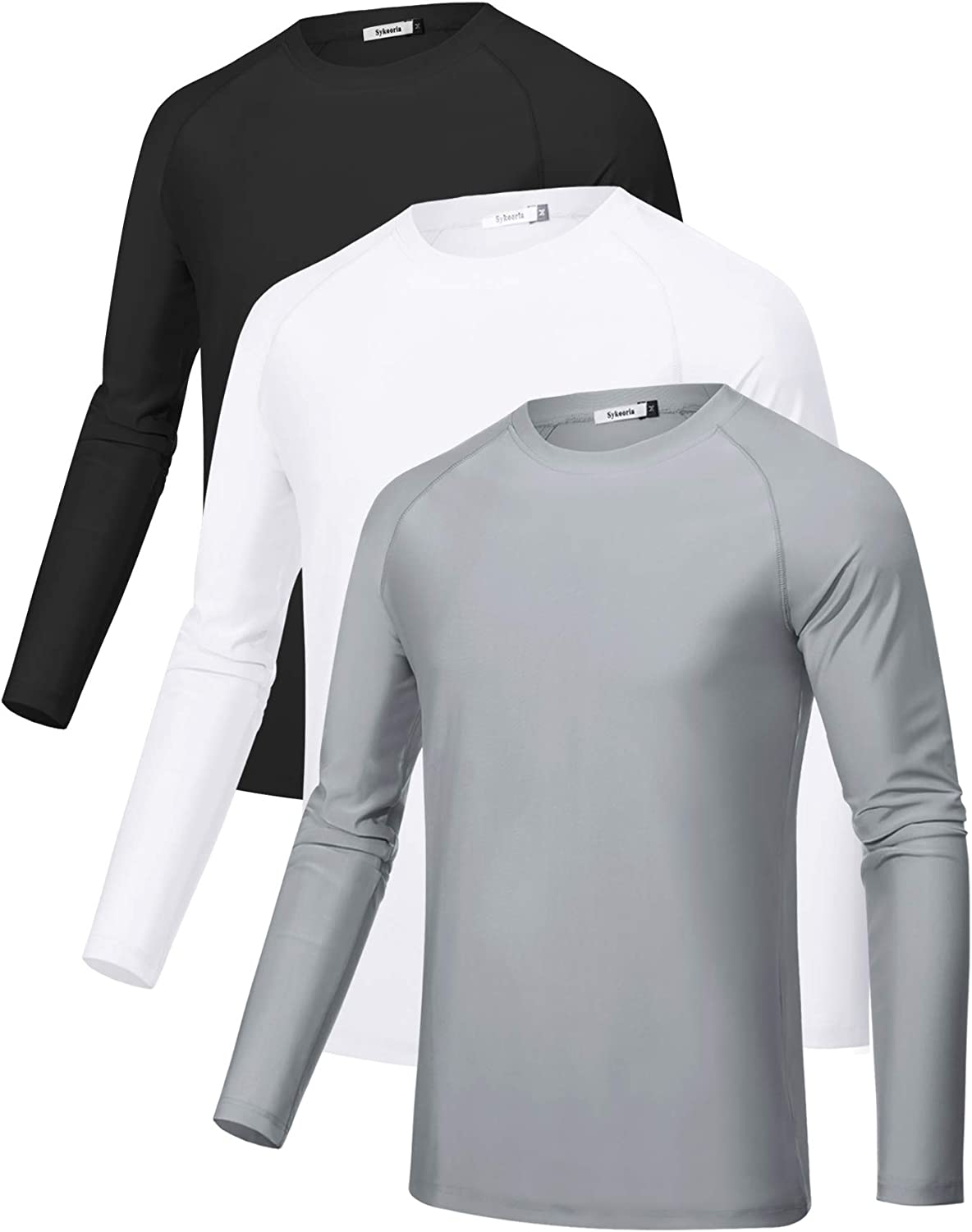 Sykooria Limited time trial price 3 Pack Men's 35% OFF Long Sleeve UPF UV Su T-Shirts Workout 50+