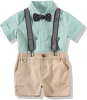 Jugendhj Babysuit 🇨🇦🇨🇦Infant Baby Boys Gentleman Tops T-Shirt Suspenders Strap Shorts Set Outfits