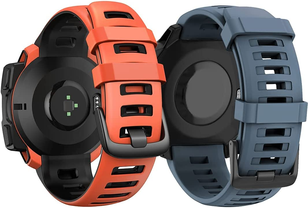 ANCOOL Compatible with Garmin Instinct Bands Navy Blue and Red Bundle