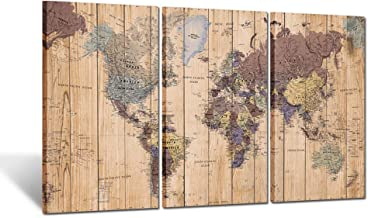 Kreative Arts Large Size 3 Panel Vintage World Map Canvas Wall Art for Home Decor Map of The World Posters Prints Painting...