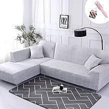 Funda Sofá Chaise Longue de 3 plazas Estiramiento, Morbuy Mármol Impresión Universal Cubierta de Sofá Cubre Sofá Funda Furniture Protector Antideslizante Sofa Couch Cover (3 plazas,Gris Blanco)