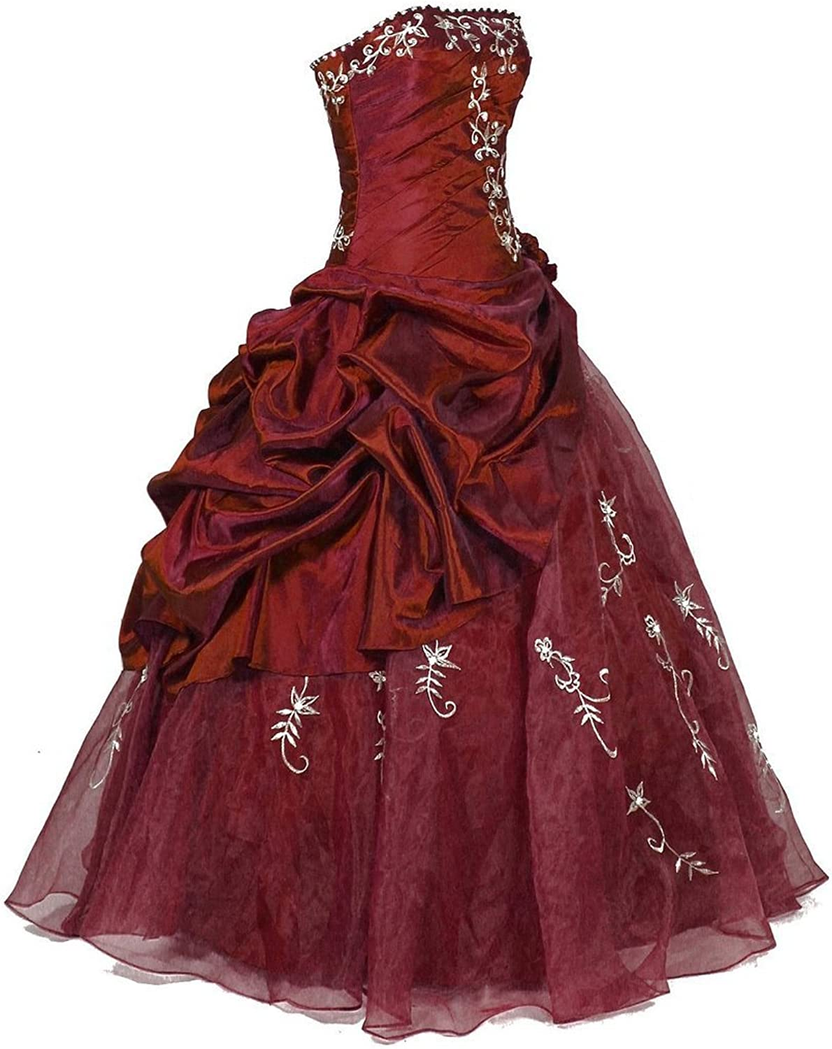 HSDJ Women's Ruffle with Embroidery Tulle Floor Length Quinceanera Dresses 0 US Burgundy