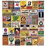 Blechschilder, 35 Stück, reproduziert, Vintage, Gasöl,