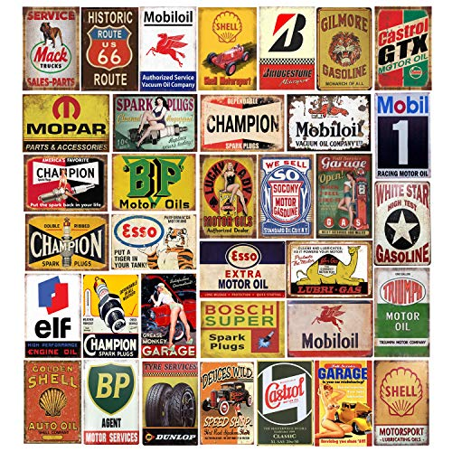 Tin Signs 35 Pieces Reproduced Vintage, Gas Oil Retro Advert Antique Metal Signs for Garage Man Cave Bar Kitchen, Nostalgic Car Decor.8x12 Inch