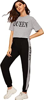 SOLY HUX Women's Sporty Letter Print Short Sleeve Crop Top and Sweatpant Set
