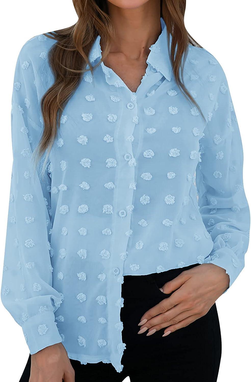 LUGOGNE Womens Button Sweatshirt Loose Fit Long Sleeve Solid Color Lapel Jacquard Shirt