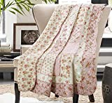 ETDWA Manta Acolchada 100% algodón Reversible Vintage Floral Patchwork colchas de Cama edredón para sofá Cama (200 x 230 cm, Flor Rosa)