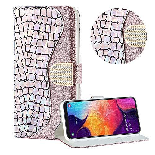 Diamant Brieftasche Hülle für Galaxy A20/A30,Silber Wallet Handyhülle für Galaxy A20/A30,Moiky Ultra Dünn Stilvoll Laser Glitzer Farbe Block Klappbar Stand Silikon Handytasche