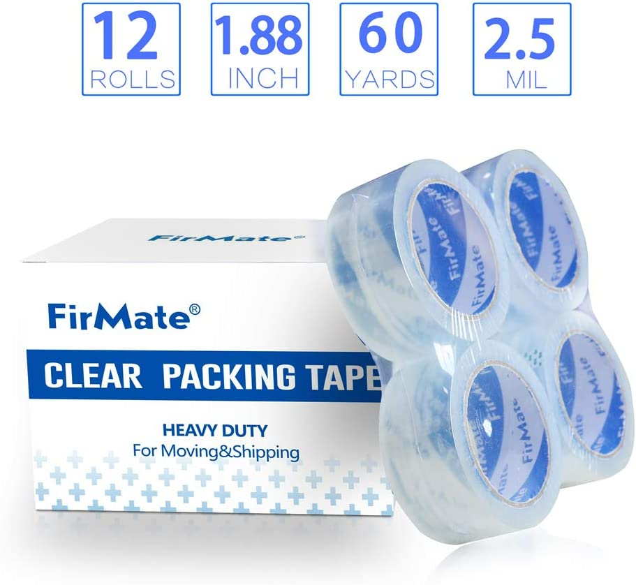 2.5 mil Thick Heavy Duty Moving Tape for Shipping Packaging Office Box Sealing /& Storage FirMate Clear Packing Tape Refill 6 Rolls 1.88 inch Wide x 60 Yards Per Roll