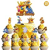 27 counts Decorations for Winnie The Pooh Cake Topper Cupcake Toppers Set Birthday Party Topper for Children