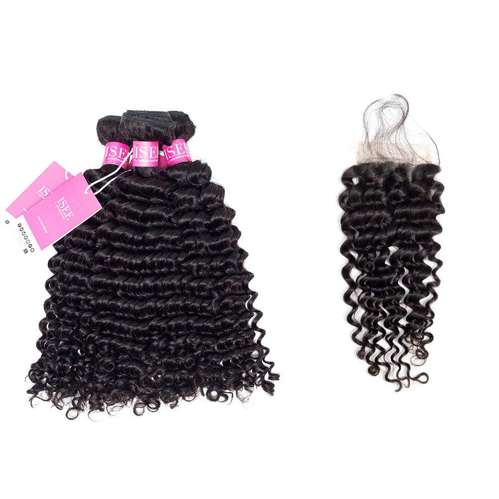 ISEE Hair 8A Grade 品質保証 Brazilian Virgin Deep [宅送] Cur Wave