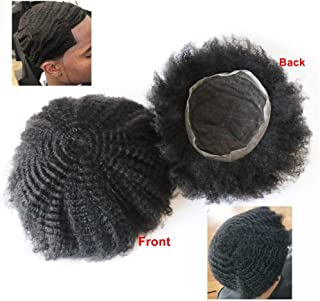 Lumeng Man Weave Unit Man Unit 360 French Lace for Black Men 100% Human Hair 360 Afro Toupee African American MenToupee 8x10inch 1B Off Black