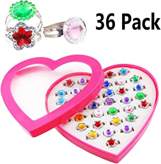Kuqqi 36pcs Colorful Assorted Gem Star Rhinestone Adjustable Rings Display Case for Party Favors, Bridal Shower, Birthday,...