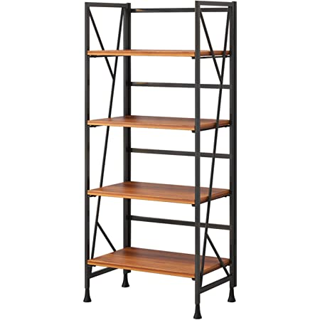 Borzer Folding Bookshelf 4 Tier Wooden Bookcase with Metal Frames No Assembly Storage Shelves Stand Book Rack Organizer for Home Office Study 49.2-inch(Brown)