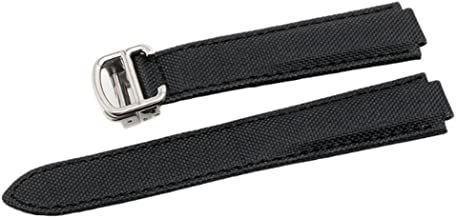 Canvas & Leather Watch Band Strap Replacement with 18mm /20mm Fits for Cartier Ballon Bleu(Buckle)