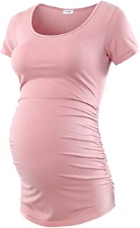 Peauty Maternity Shirt Side Ruched Tops Pregnancy Top Plus Size