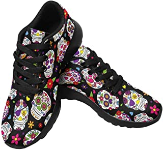 Womens Running Shoes Lightweight Sneakers Athletic Tennis Sport Shoes Stylish Beautiful Bright Floral Pattern