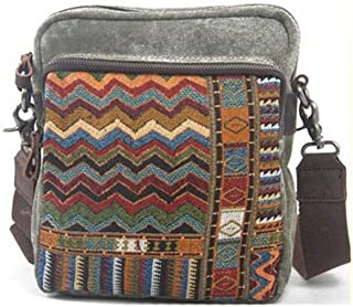 Mens Leather Bag Vintage Ethnic Embroidery Canvas Coffee Canvas Shoulder Bag Shopping Business Bag (Color : Brown, Size : S)