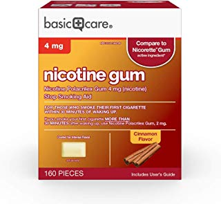 Basic Care Nicotine Polacrilex Gum, 4 Mg (Nicotine), Cinnamon Flavor, 160 Count