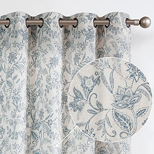 Lazzzy Linen Farmhouse Curtains for Living Room 84 Inch Length Semi Floral Print Window Curtain Drapes for Bedroom Country Light Filtering Curtain Grommet Top 2 Panels Blue on Beige